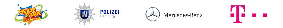Referenzen Heide Park, Polizei Hamburg, Mercedes Benz, Telekom