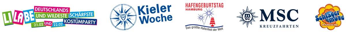 Referenzen LiLaBe, Kieler Woche, Hamburger Hafengeburtstag, MSC Kreuzfahrten, Schlager Move